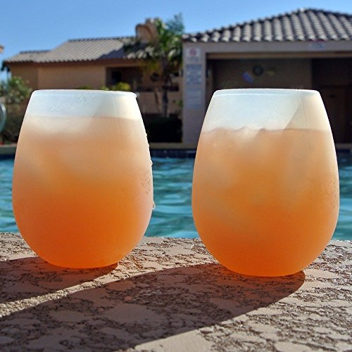 Silicone Wine Glasses (Set of 2) Beer Bar Party Cups - Flexible Glasses, Stemless Drinking Cups Shatterproof Drinkware (Drinkware Bar)