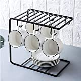 SRHOME 2-Tier Dish Drying Rack 6 Hook Mug Holder Countertop Mug Storage Organizer Rack Coffee Cup Drying Rack-Kitchen Hanging Organizer Rack (Black)