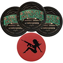 Smokey Mountain Herbal Snuff/Chew Wintergreen - 3ct - Includes DC Skin Can Cover (Mud Flap Skin)