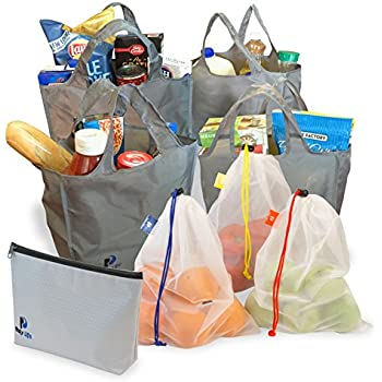 Reusable Grocery Bags by Busy Life - 7 Piece - All The Bags You Need for a Complete Shopping Trip, Foldable Shopping Bags with Carrying Pouch - Bring Home Groceries the Eco-Friendly Way