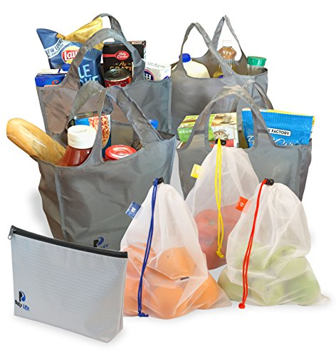 Reusable Grocery Bags | 8 Piece Set | Foldable Shopping Bags with Zippered Carrying Pouch |All The Bags You Need for a Complete Shopping Trip