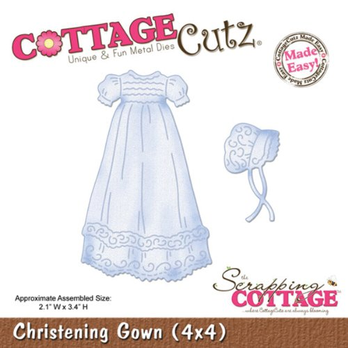 CottageCutz Die Cuts with Foam, 4 by 4-Inch, Christening Gown Made Easy