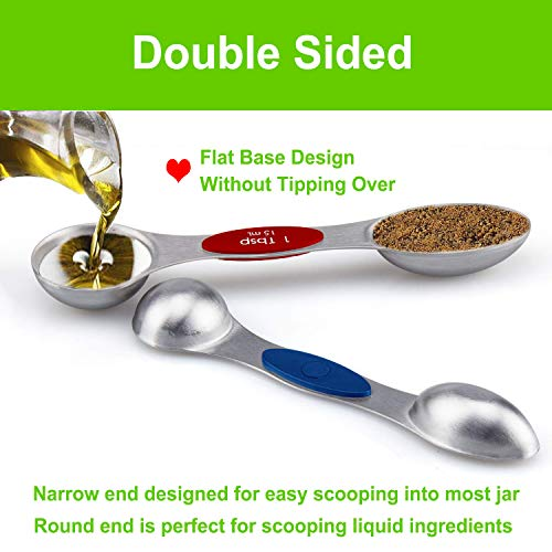 Magnetic Measuring Spoons Stainless Steel Set of 8 with Double Sided Teaspoon Tablespoon Measuring For Dry and Liquid Ingredients Colourful Fits in Spice Jars Nesting Cooking and Baking