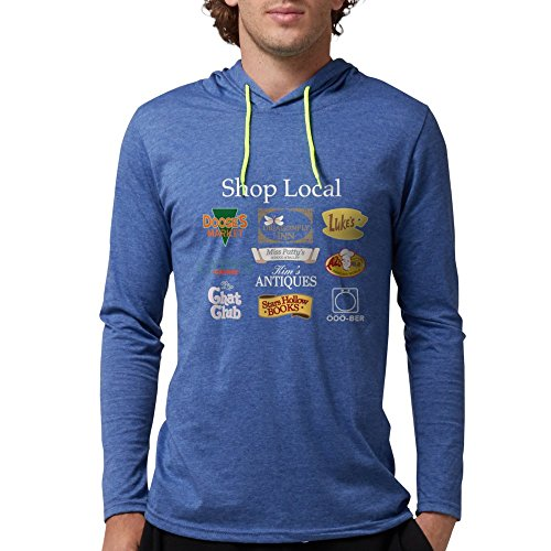 CafePress - Gilmore Girls Shop Local - Mens Hooded Shirt Heather Blue