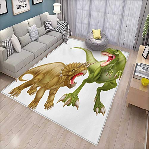 Price comparison product image Dinosaur Anti-Skid Rugs T Rex Versus Triceratops Scaring Each Other Wild Reptiles Dinosaur Girls Rooms Kids Rooms Nursery Decor Mats 5'x8' Green Pink Pale Brown