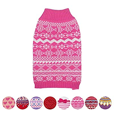 Blueberry Pet 9 Patterns Fair Isle/Lopi Pullover Interlock Dog Sweater and Matching Sweater for Pet Owner