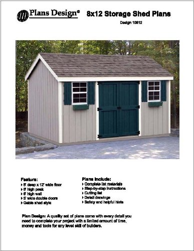 8' x 12' Gable Storage Shed Project Plans -Design #10812 by Plans Design