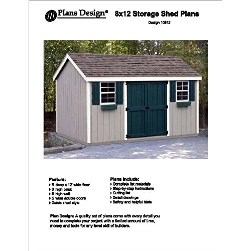 8u0027 x 12u0027 Gable Storage Shed Project Plans -Design #10812  sc 1 st  Amazon.com & Affordable Sheds: Amazon.com