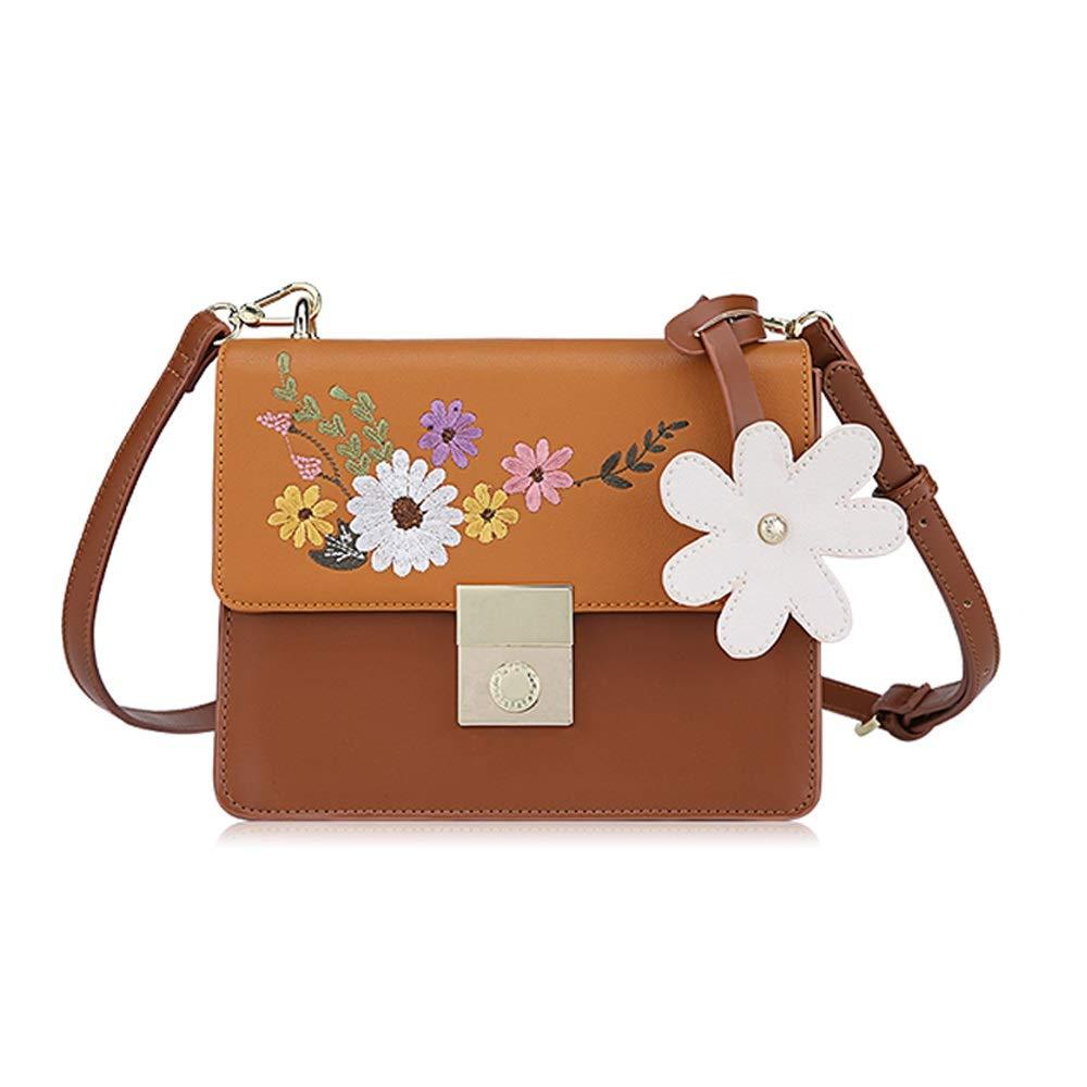 ショルダーバッグ ショルダーバッグ - PU/ポリエステル、小さくて新鮮な刺繍ファッションワンショルダーレディースクロスボディ多彩なコントラストソフトフェイス小型スクエアバッグ - 2色ご用意 (色 : Brown) B07PQZG4F7 Brown
