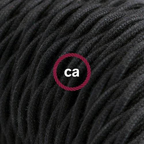 Fil Électrique Torsadé Gaine De Coton De Couleur Tissu Uni Noir TC04 - 10 mètres, 2x0.75