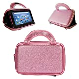 E-Den ANOC 7' (7-Inch, Android) Tablet Case - Glitter Effect Zipped Tablet Bag and Stand, Pink