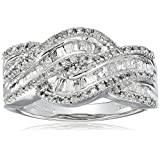 10K White Gold Diamond Twist Band Ring (1/2 cttw), Size 9