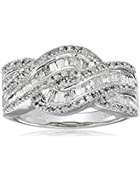 10k White Gold and Diamond Twist Ring (1/2 cttw, I-J Color, I3 Clarity)