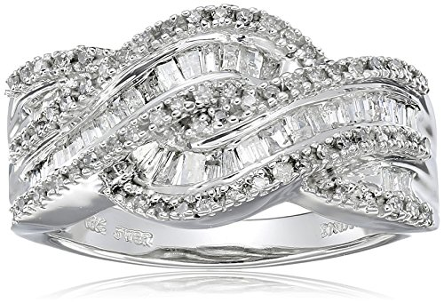(10K White Gold Diamond Twist Band Ring (1/2 cttw), Size 7)