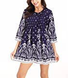 YuHeng Womens Floral Printed Casual 3/4 Sleeve Loose Notch Neck T-Shirt Blouse Tops Dress, Royalblue, XX-Large