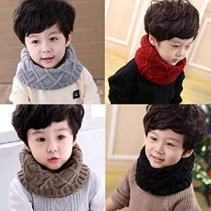 1PC Soft Unisex Baby Kids Fashion Solid Color Soft Thick Knitted Scarf Winter Warm Infinity Scarf Circle Loop Neckerchief Neck Warmer Wrap Scarves