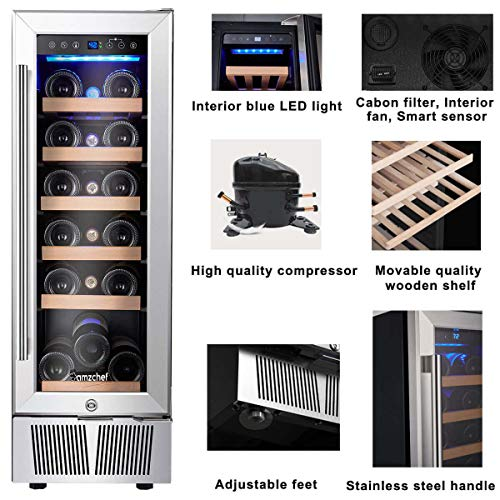 Wine Cooler, Built-in or Freestanding, AMZCHEF 19 Bottle Wine Refrigerator, Quiet, Constant Temperature, Energy Efficient by AMZCHEF (Image #3)