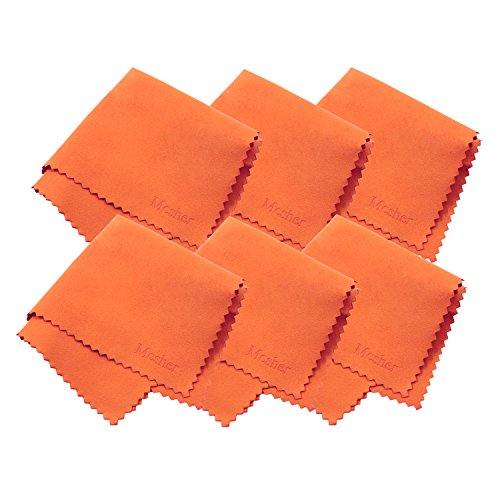 Mcsher Microfiber Cleaning Cloths - 6 Pack, Orange, 7.5 x 7.5 Inches (19cm x 19cm)