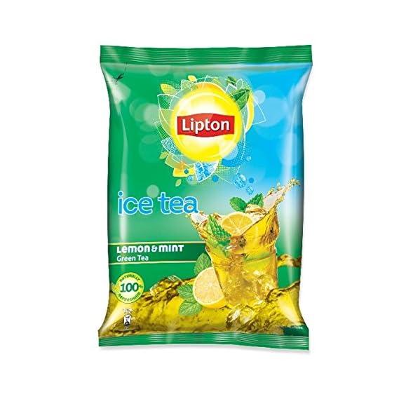 Lipton Iced Tea, Lemon and Mint Green Premix, Pouch, 400g