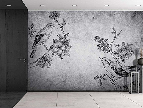 Birds and Branches Sitting on a Grayscale Grungy Texture with a Vignette Effect Around It Wall Mural Removable Vinyl Wallpaper
