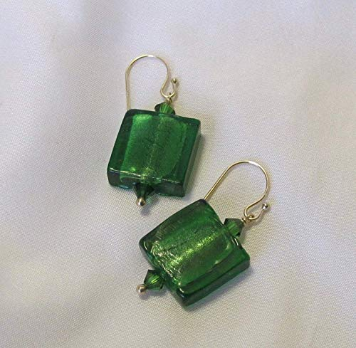 Dark Emerald Green Venetian Murano Glass Swarovski Crystals Solid 14k Yellow Gold Ball Tip French Ear Wire Earrings