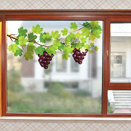 Grapes Window - Boodecal Purple Grape Vines Green Leaves Private Window Film Frosted Decals Heat Protection Vinyl Stickers for Bathroom Living Room Office (23.6