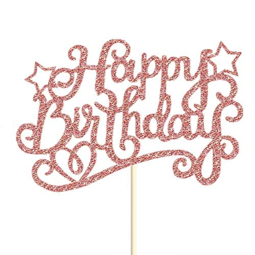 7 Pack Glitter Rose Gold Happy Birthday Cake Toppers Pack Star Cupcake Party Decor Decorations (B)