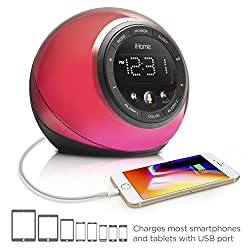 iHome iBT297 Bluetooth Alarm Clock Radio and Color Changing Wireless Speaker with USB Charging Port for Mobile Devices, Voice Controls, Smart Buttons and Wireless Streaming