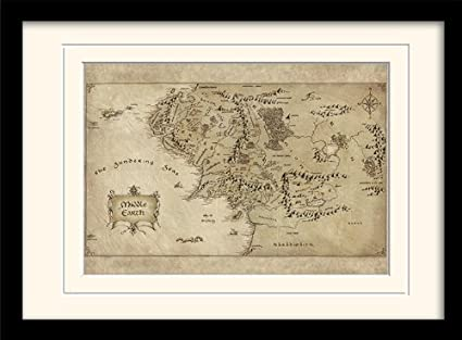 The Hobbit Middle Earth Map A3 Framed and Mounted Print: Amazon.co
