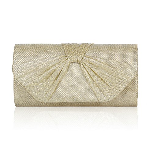 Damara Shiny Clutch Womens Pleated Evening Trefoil Gold Medium Flap Party q8wIrqC