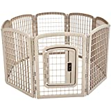 AmazonBasics 8-Panel Plastic Pet Pen Fence Enclosure With Gate - 64 x 64 x 34 Inches, Beige