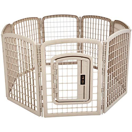 AmazonBasics 8-Panel Plastic Pet Pen Fence Enclosure With Gate - 64 x 64 x 34 Inches, Beige