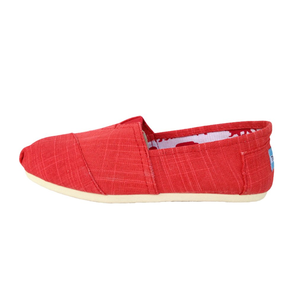 Dooxii Unisex Uomo Donna Durevole Casuale Loafers Scarpe Moda Tinta Unita Espadrillas Basse Scarpe Slip on Flats rosso