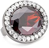 "nOir Jewelry Two Finger ""Midnight Ice"" Red Statement Ring, Size 5"