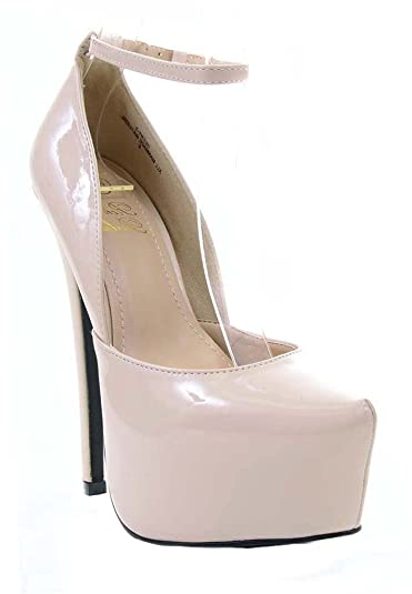 6460e5aed29 Fourever Funky Ankle Strap Stiletto Hidden Platform Pin-up Pump Beige