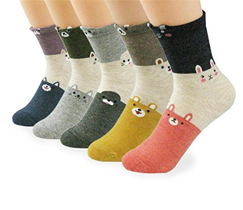 (V28 Girl's Cute Owl Various Pattern Mixed Color Soft Socks (One Size, 5 Mixed Pets))
