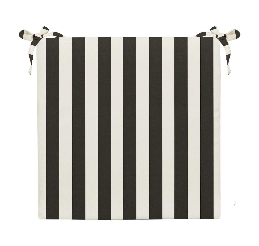 """RSH Décor Indoor/Outdoor Black & White Cabana Stripe 2"""" Foam Seat Cushion with Ties for Dining/Patio Chairs - Choose Size and Choose Color"""