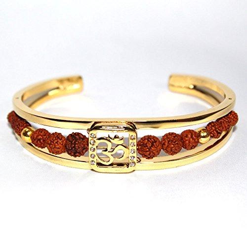 Odishabazaar Men's Rudraksh American Diamond Gold Plated Om Cuff Kada Bracelet