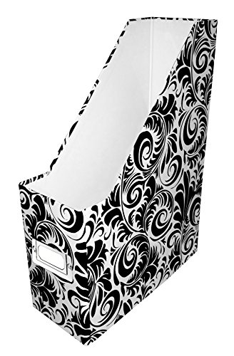 (Snap-N-Store Magazine File Box, 12 1/4 H x 9 3/4 D x 3 7/8 W, Black and White Scroll Pattern (SNS01837))