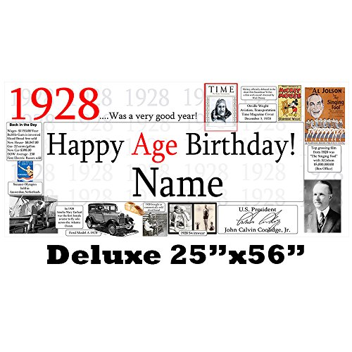 1928 91st Birthday Deluxe Custom Banner (Each) Customized by Partypro