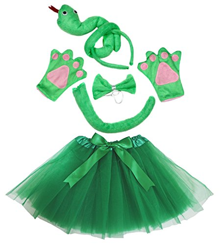 (Petitebella Snake Headband Bowtie Tail Gloves Green Tutu 5pc Girl)
