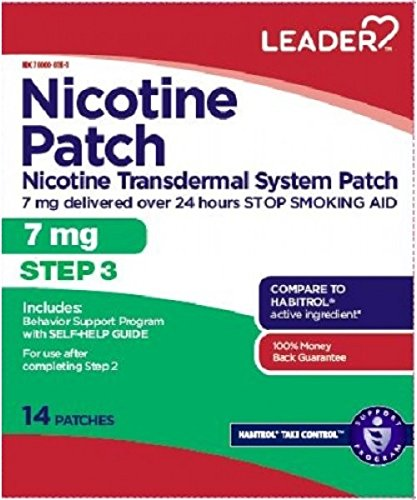 Leader Step 3 Nicotine Transdermal Patch 7Mg/24Hr, 14 Count per Box (9 Pack)