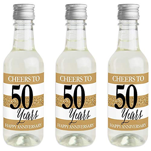 - We Still Do - 50th Wedding Anniversary - Mini Wine and Champagne Bottle Label Stickers - Anniversary Party Favor Gift for Women and Men - Set of 16