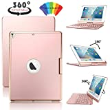 IELECMG Keyboard Case for iPad 2017 5th Generation & 2018 6th Gen 9.7 inch, 360 Rotatable, Wireless Bluetooth, 7 Colors Backlit, Hard Slim Cover, Smart Auto Sleep-Wake for Apple Tablet(Rose Gold)