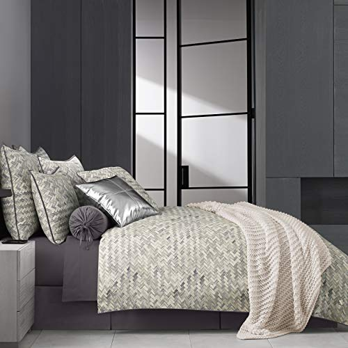 Five Queens Court Haven Basket Weave Chevron 100% Twill Cotton 4 Piece Comforter Set, Lavender, Cal King ()