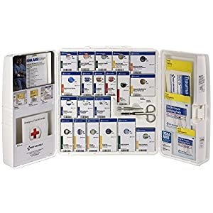 Spill Magic First Aid Only 50 Person Large Plastic SmartCompliance First Aid Cabinet with Medications, White, 241 Pieces…