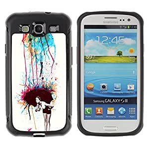 Hybrid Anti-Shock Defend Case for Samsung Galaxy S3 / Cool Colorful Retro Neon Art