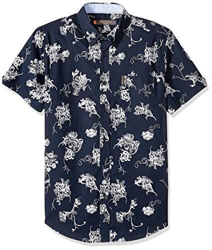 Ben Sherman Men's SS TROP FLORL PRNT Shirt, Navy Blazer, M