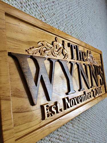 Personalized Established Sign Family Name Signs Wedding Gift Last Name Custom Wood Sign Carved Wood Sign Lake House Couples Anniversary Gift Wooden Plaque
