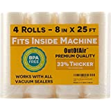 "8"" x 25' Vacuum Sealer Rolls (That Fit Inside) - Pack of 4 (100 feet total) OutOfAir Vacuum Sealer Bags for Foodsaver, Weston etc. 33% Thicker, BPA Free, FDA Approved, Sous Vide, Commercial Grade"